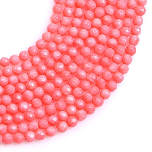 (JOE FOREMAN 5mm Pink Coral Semi Precious Gemstone Round Faceted Loose Beads for Jewelry Making DIY Handmade Craft Supplies 15