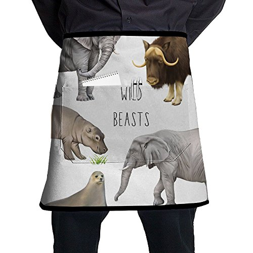 (XiHuan Grill Aprons Kitchen Chef Bib Illustration Of Large Wild Animals African Elephant Musk Ox Hippo And A Seal Isolated On White Professional For BBQ Baking Cooking For Men Women Pockets)