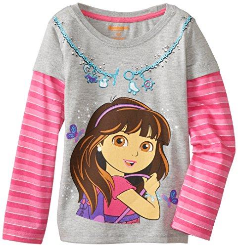 Nickelodeon Little Girls' Dora Butterfly Long Sleeve Tee, Grey, 3T