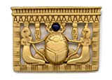 Gold Tone Cobalt Blue Bead Egyptian Royal Family Scarab Pin Museum Style Jewelry With History Card