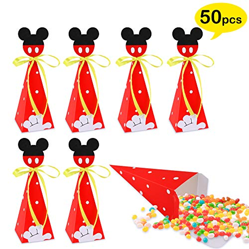 50 PCS Mickey Mouse Candy Boxes, Mickey Mouse Goodie Gift Bags for Kids Birthday Party Supplies Baby Shower Mickey Theme Party Decorations -