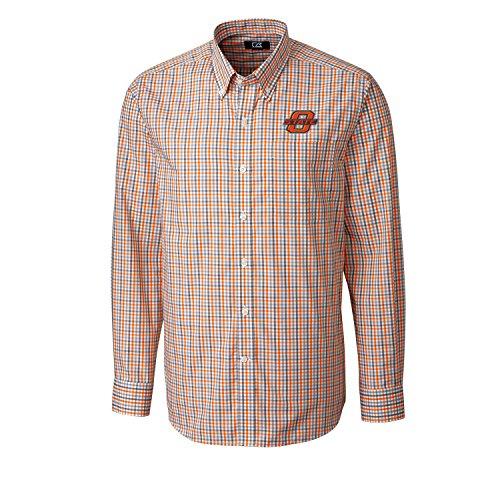 Cutter & Buck NCAA Oklahoma State Cowboys Men's Long Sleeve Gilman Plaid Shirt, Medium, College Orange