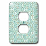 3dRose Uta Naumann Faux Glitter Pattern - Luxury Trendy Gold And Teal Moroccan Arabic Quatrefoil Tile Pattern - Light Switch Covers - 2 plug outlet cover (lsp_268950_6)