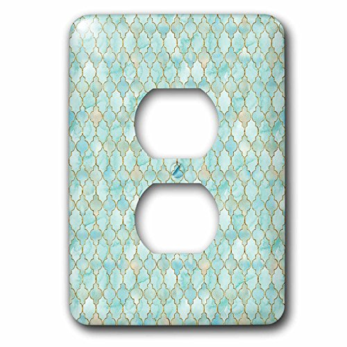 3dRose Uta Naumann Faux Glitter Pattern - Luxury Trendy Gold And Teal Moroccan Arabic Quatrefoil Tile Pattern - Light Switch Covers - 2 plug outlet cover (lsp_268950_6) by 3dRose