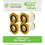 4 Highly Durable Washable & Reusable Dirt Devil Style F12 HEPA Filters; Compare to Dirt Devil Part Nos. 3KD1680000, 3-KD1680-000; Designed & Engineered by Think Crucial