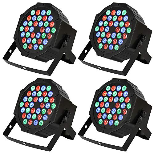 DJ Par Lights with 36 LEDs, RGB Changeable Color Multiple Lighting Modes Stage Lighting effects by Manual and DMX Control perfect for Party Show DJ Disco- 4 Pack. (No Remote Control) ()