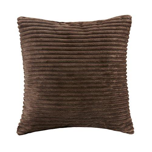 Parker Corduroy Plush Accent Throw Pillow, Lodge Cabin Square Decorative Pillow, 20X20, Brown