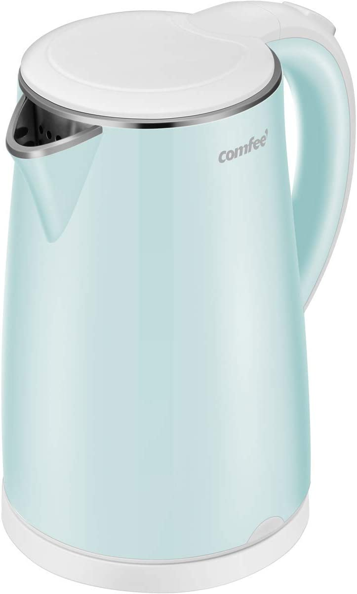 COMFEE 1.7L Double Wall Low Noise Electric Kettle with 100 Stainless Steel Inner Pot and Lid. Cool Touch BPA Free. 1500W Fast Boil. Cordless with Auto Shut-Off Boil Dry Protection. Mint Green