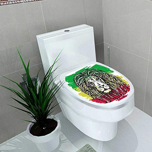 Auraise-home Toilet Seat Wall Stickers Paper Depicting a Lion with Dreadlocks as a Symbol of The Rastafarian subculture and The Image Decals DIY Decoration W11 x L13 ()
