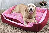 Top Quality Large Breed Dog Bed Sofa Mat House 3 Size Cot Pet Bed House for large dogs Big Blanket Cushion Basket Supplies (S, Rose Red)