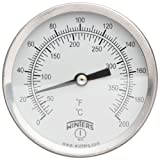 Winters TCT Series Dual Scale Mild Steel Clamp-On Thermometer, 2-1/2'' Dial, 30-390 F/C Range