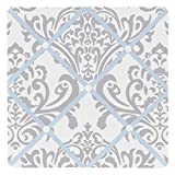 Sweet Jojo Designs Blue, Gray and White Damask Print Avery Fabric Memory/Memo Photo Bulletin Board for Unisex Girl Boy