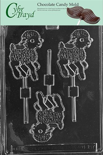 Cybrtrayd Life of the Party E157 Lamb Lolly Easter Chocolate Candy Mold in Sealed Protective Poly Bag Imprinted with Copyrighted Cybrtrayd Molding Instructions