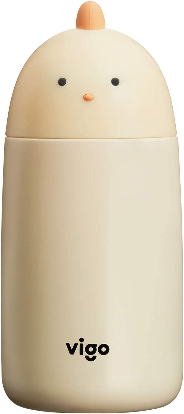 304 Stainless Steel Thermos 9.5oz, Double-wall Wide Mouth Cute Vacuum Insulated Water Bottle, Yellow Chick