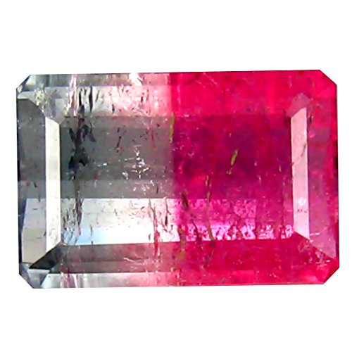 Deluxe Gems 2.57 ct GSL Certified Bi Color Octagon Cut (10 x 7 mm) Un-Heated Watermelon Tourmaline - Tourmaline Bi Gem Color