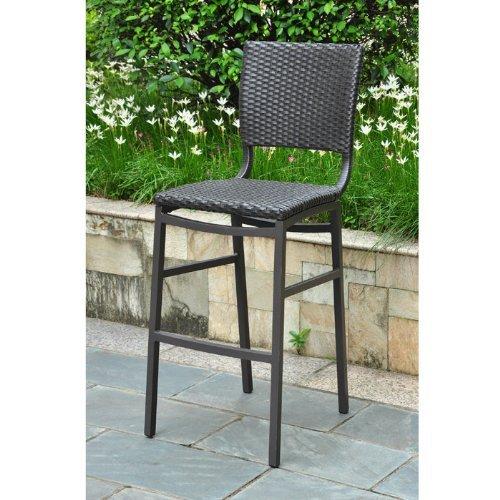 International Caravan Inc 4215-2CH-BKA Barcelona Set of Two Resin Wicker-Aluminum Bar Bistro Chair - Black