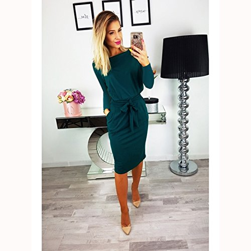 with Belt Work Long Casual Wear Pencil Elegant Longwu Sleeve Dress Dark Women's Green to vxS646