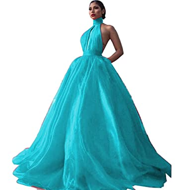 f08a66f3eec MariRobe Women s Backless Halter Neck Prom Dress Long A Line Evening Dress  Sleeveless Formal Party Drsss