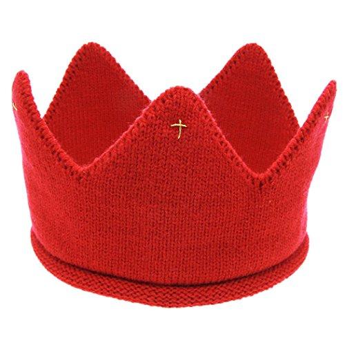 Veenajo Baby Boy Girl Crown Hat Birthday Warm Soft Knit Crochet Beanie Warm Cap 5 Colors (Red)