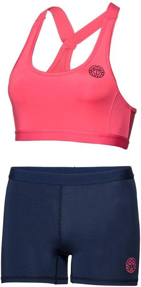 Sport Bra und Shorts Afia Tech Dress 3 in 1 Coral BIDI BADU Tennis Kleid Damen inkl - Coral//darkblue Sport Kleid Figurbetonter Schnitt SP18