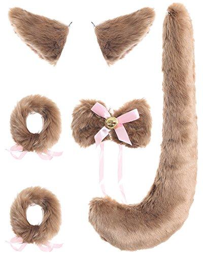JustinCostume Fox Cosplay Set Tail Ears Neckwear Bracelet, Brown -