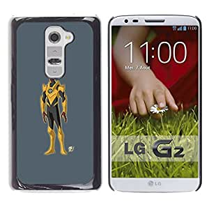 Shell-Star Arte & diseño plástico duro Fundas Cover Cubre Hard Case Cover para LG G2 / D800 / D802 / D802TA / D803 / VS980 / LS980 ( Superhero Costume Yellow Grey Cartoon Man )