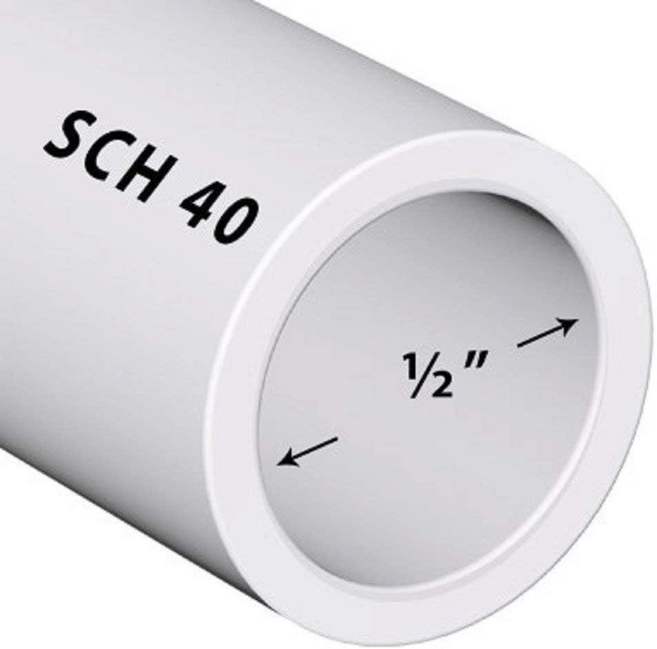 PVC Pipe Sch40 1/2 Inch (0.5) White Custom Length 1ft