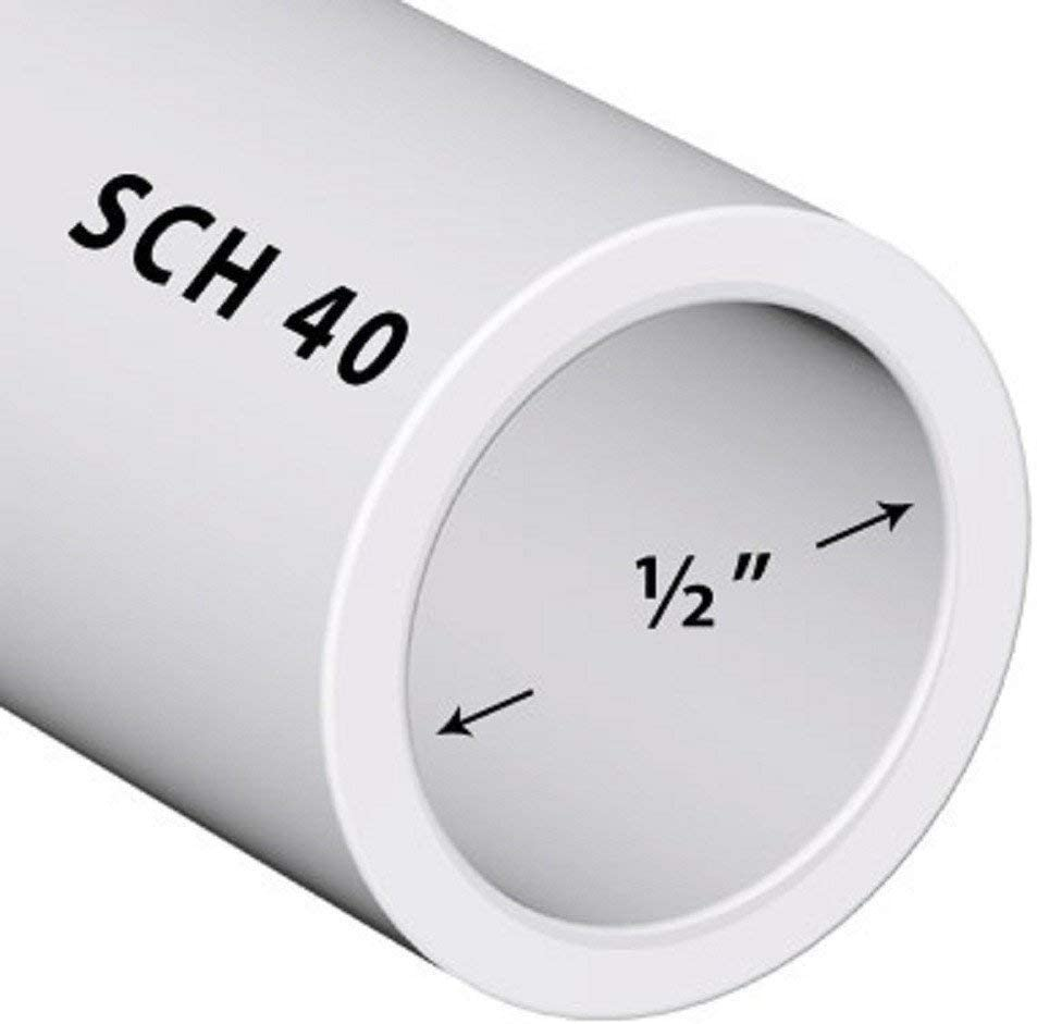 40 1//2 Inch White//PVC // 3 FT PVC Pipe Sch .5