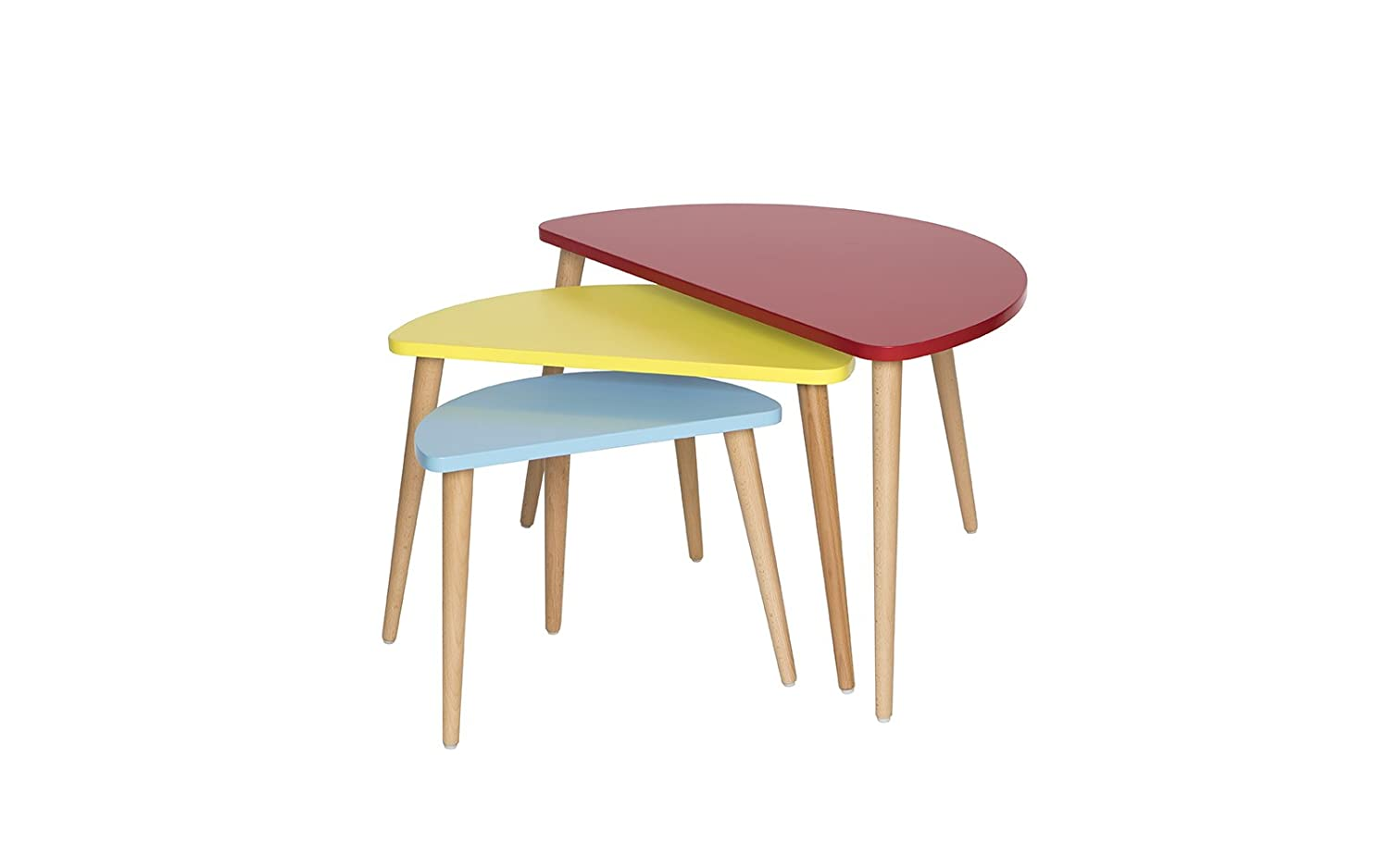 Mid Century Modern Tri Color Nesting Tables   Set Of 3 (Red / Yellow /  Blue) Furniture Mania NST02