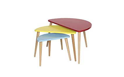 Mid Century Modern Tri Color Nesting Tables   Set Of 3 (Red / Yellow