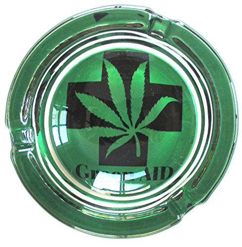 Green-Aid-Marijuana-Weed-Round-Glass-Ashtray
