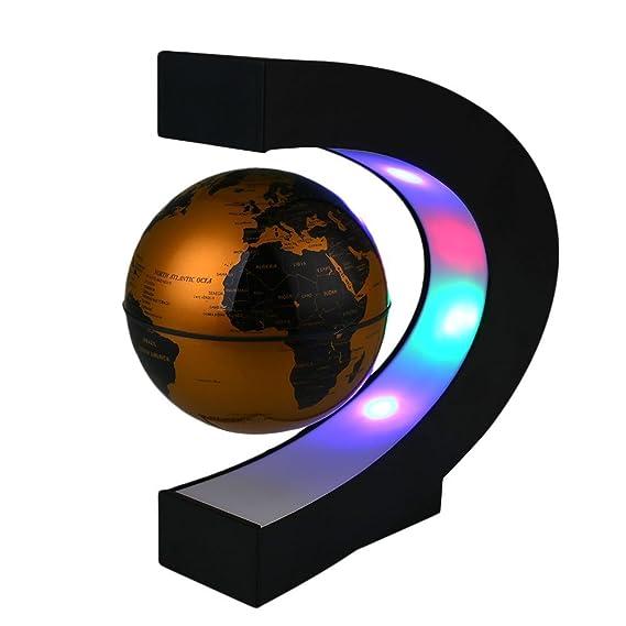 Levitación magnética flotante mundo mapa del mundo imanes de suspensión de visualización Tellurion Forma de 3 pulgadas de luz LED anti de la gravedad de la ...