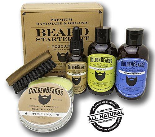 Kit Cuidado de Barba Kit 1 Caja de Regalo que contiene1 Champu & Acondicionador 1 Aceite 1 Balsamo y un Peine de viaje de maxima calidad Olor a Ginger y Junipero (Olor Seca) Toscana Golden Beards