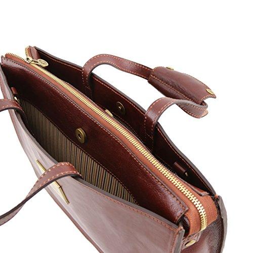 81413434 - TUSCANY LEATHER: PALERMO - Serviette en cuir avec 3 compartiments, marron