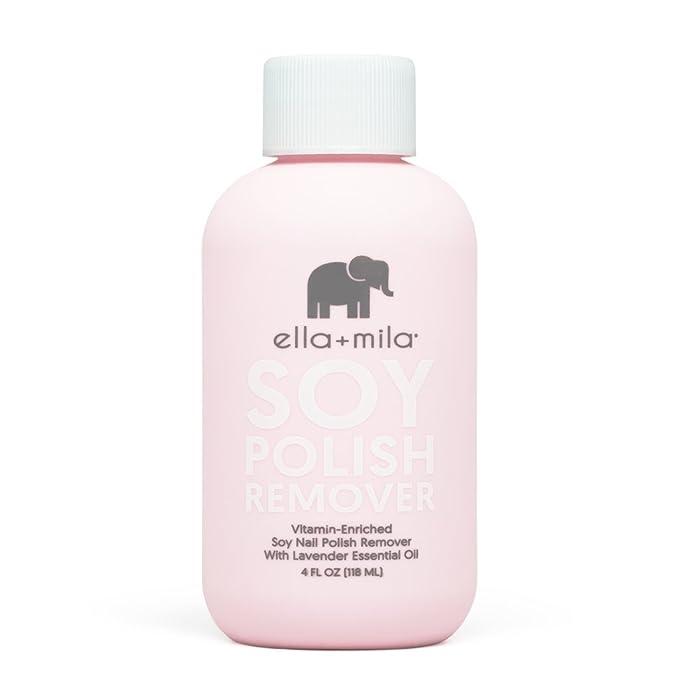 Amazon Com Ella Mila Soy Nail Polish Remover Acetone Free W Lavender Essential Oil Vitamin A C E Oil 4 Ounces Beauty