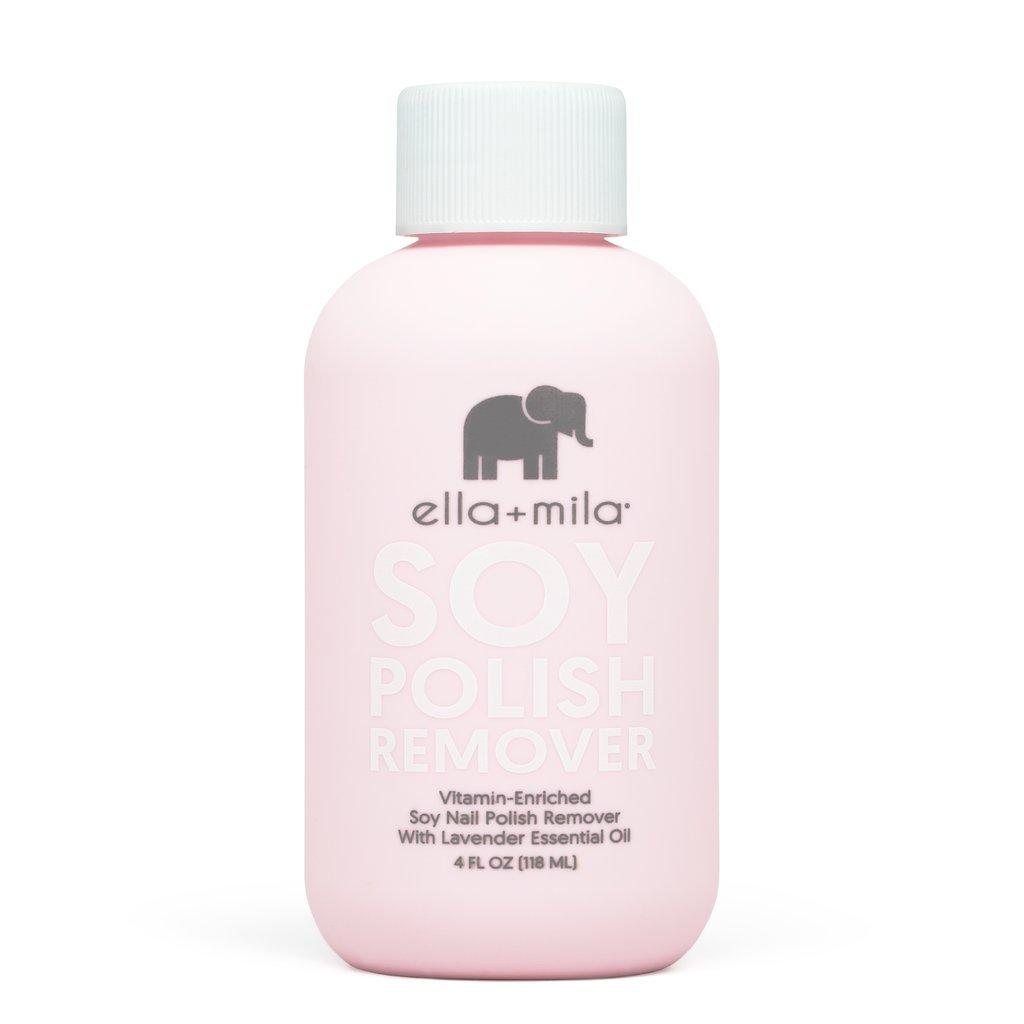 Ella+Mila Soy Nail Polish Remover - Acetone Free w/Lavender Essential Oil, Vitamin A, C, E Oil (4 ounces)