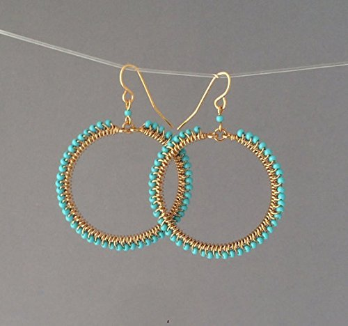 Small Gold Turquoise Beaded Wrapped Hoop Earrings