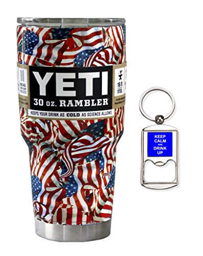 YETI Coolers 30 Ounce (30oz) (30 oz) Custom Dipped Rambler Tumbler Cup Mug with Bottle Opener Keychain (Dipped Patriotic Flag)