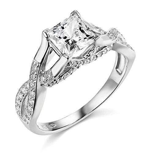 14K White Gold Princess-cut 1.75 CTW Equivalent CZ Cubic Zirconia Ladies Solitaire Wedding Engagement Ring Band – Size 5.5