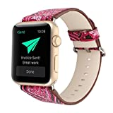 For Apple Watch Band,Voberry Premium Leather Replacement Strap for Apple Smart Watch 42mm (Hot Pink)