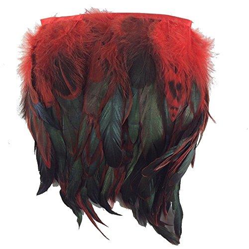 KOLIGHT Pack of 5 Yards Natural Rooster Hackle Feather Trim Fringe 5-7