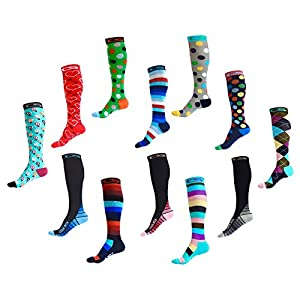 Compression Socks for Men & Women - BEST Graduated Athletic Fit for Running, Nurses, Shin Splints, Flight Travel, & Maternity Pregnancy - Boost Stamina, Circulation & Recovery (Dancing Dots, L/XL)