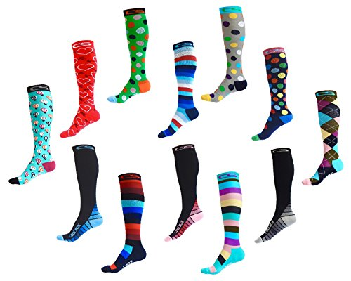 Compression Socks for Men & Women - BEST Graduated Athletic Fit for Running, Nurses, Shin Splints, Flight Travel, Maternity Pregnancy - Boost Stamina, Circulation & Recovery (Cool Dots, S/M) by Cool Sox (Image #2)