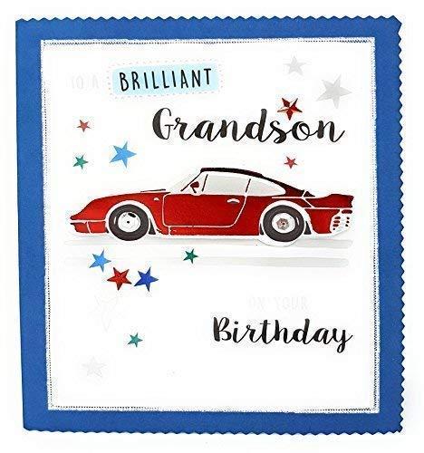 Brillante NIETO en su Tarjeta Cumpleaños Coche Rojo Azul ...