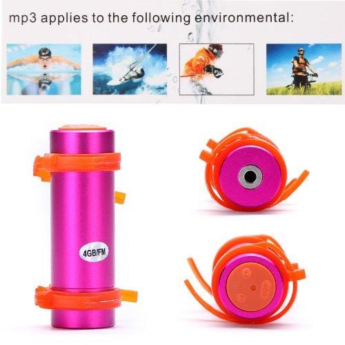 Kingzer 4GB USB Swimming Diving Waterproof MP3 Player FM Radio Earphone Pink