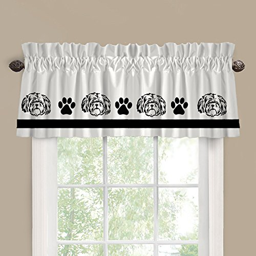 Shih Tzu Lhasa Apso Dog Cutie Face Window Valance / Window Treatment - In Your Choice of Colors - Custom (Shih Tzu Face)