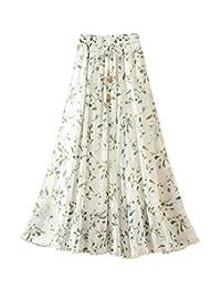 Falda de la falda de la falda larga de la gasa de la cintura elástico de la cintura de las mujeres #06