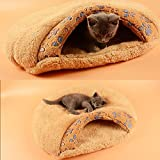 Pecute Pet Bed Sleeping Bag Soft Warm Dog Cat Kitten Cave Igloo Nest Brown