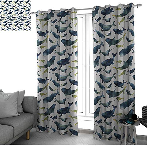 Benmo House Narwhal Window Treatments Draperies for Bedroom Watercolor Whales of The Arctic Ocean Cachalot Orca Blue Whale Illustration soundproof Curtain Cloth W120 x L96 Inch