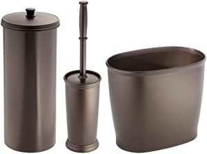 mDesign Modern Plastic Bathroom Storage and Cleaning Accessory Set - Includes Bowl Brush, 3-Roll Toilet Paper Canister with Lid, Wastebasket Trash Can/Garbage Bin - 3 Pieces - Bronze